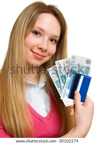 young smiling girl with money and credit card on hands. Isolation on the white