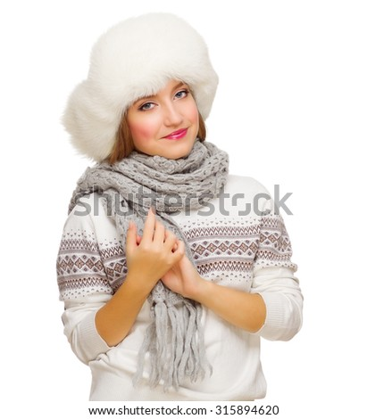 Young smiling girl with sweater  isolated - stock photo