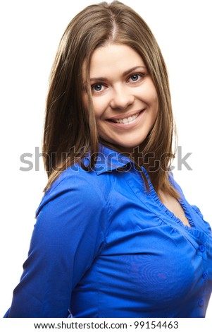 Young smiling happy woman portrait on gray background