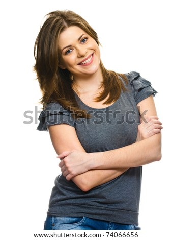 Young smiling happy woman portrait on white. - stock photo