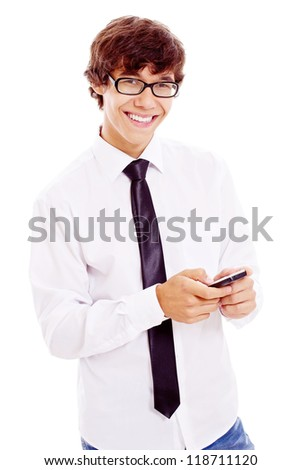 Young smiling latin man in black glasses, white shirt and tie enjoying mobile phone. Isolated on white background, mask included - stock photo