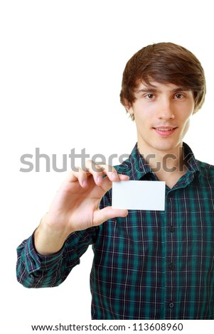 Young smiling man holding blank white card to write it on your own text isolated on white background - stock photo