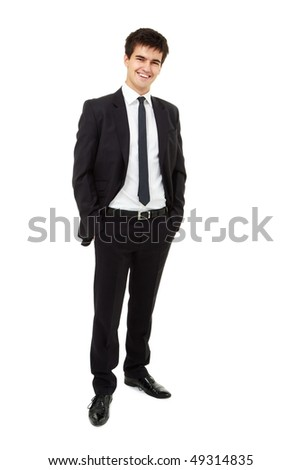 Young smiling man is wearing a business suit, standing against isolated white background - stock photo