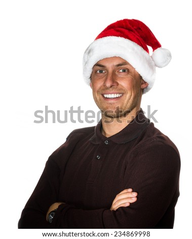 young smiling man wearing a santa hat isolated on a white background