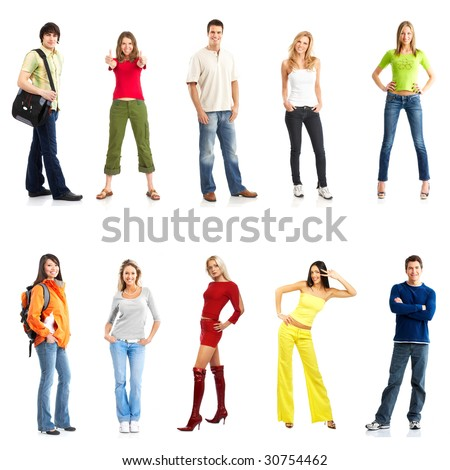 young smiling  people. Isolated over white background