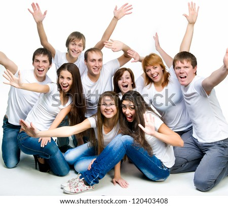 young smiling people  over white background