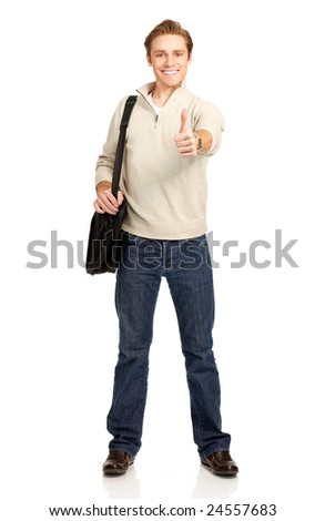 Young smiling  student with a bag. Over white background