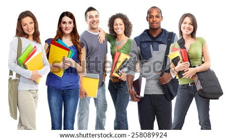 Young smiling students portrait isolated on white background. - stock photo