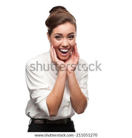 young smiling surprised caucasian business woman standing isolated on white - stock photo