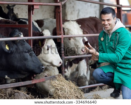 Young smiling veterinarian preparing vaccine for cattle on farmland