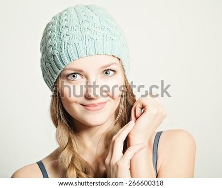 Young smiling woman. Cute face closeup - stock photo