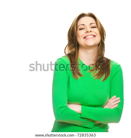 Young smiling woman dressed in green. Closeup, isolated. - stock photo