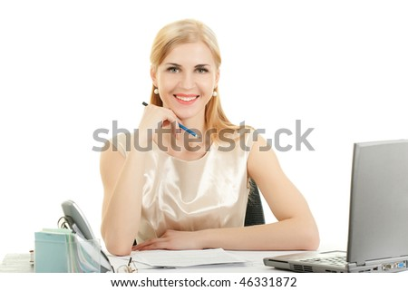 Young smiling woman holding a pen