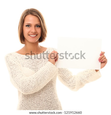 Young smiling woman holding blank paper in a hands - stock photo