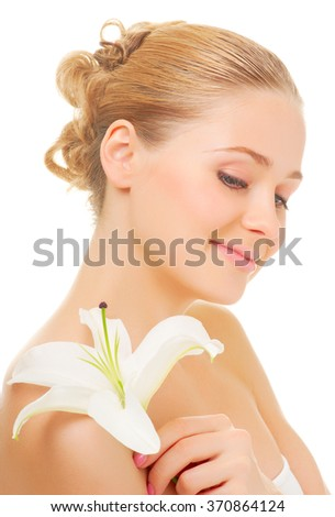 Young smiling woman isolated on white - stock photo