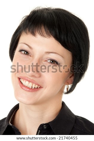 Young smiling woman isolated on white background