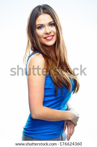 Young smiling woman portrait isolated on white background. Positive female model studio pose.