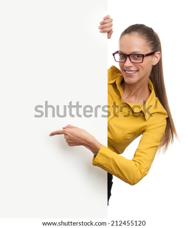 Young smiling woman showing blank card isolated on white background - stock photo