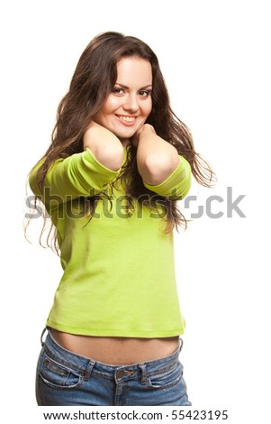 Young smiling woman Studio shot on a white background,isolated - stock photo