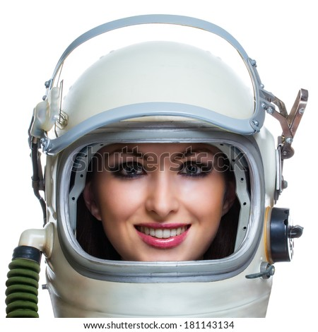 Young smiling woman wearing space suit isolated on white background. Space beauty astronaut concept