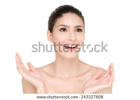 Young smiling woman, white background,