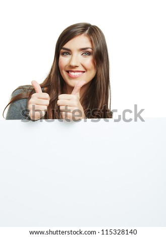 Young smiling woman with blank board isolated over white background - stock photo