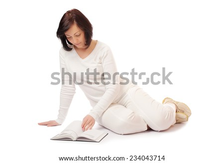 Young smiling woman with book isolated - stock photo