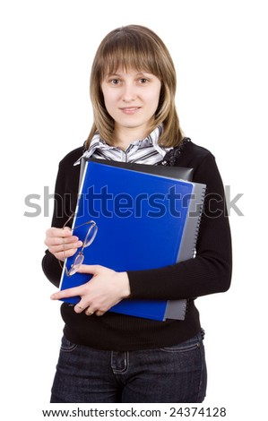 Young smiling woman with folders. Isolated on white.