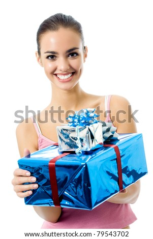 Young smiling woman with gift, isolated on white background