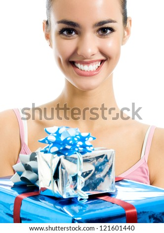 Young smiling woman with gifts, isolated over white background