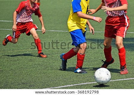 Young soccer players - stock photo