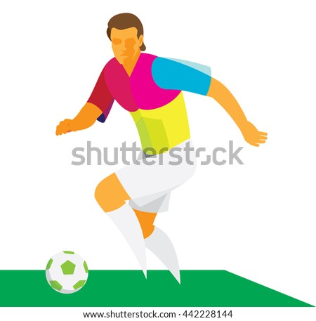 young soccer striker demonstrated his technique over possession of the ball - stock photo