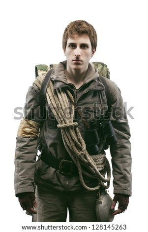 Young soldier on a white background