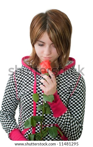 Young sorrowful girl with rose