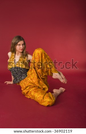 young sport girl at fitness - stock photo