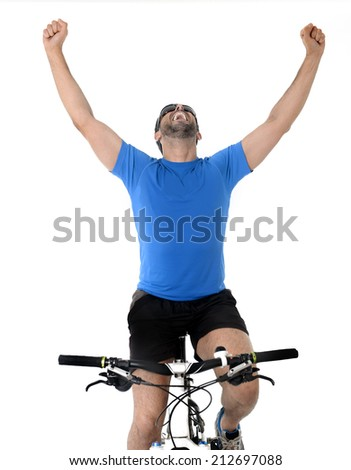 young sport man riding mountain nike celebrating victory after winning race on sprint in fitness and competition winner concept wearing sunglasses and running clothes isolated on white background - stock photo