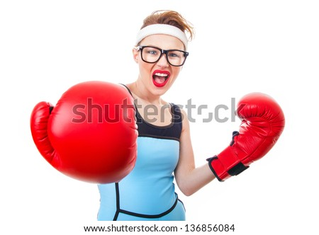 Young sport woman wearing boxing gloves, isolate on white - stock photo