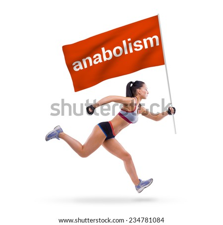 Young sports-looking nice lady with dark hair on the white background in studio - stock photo