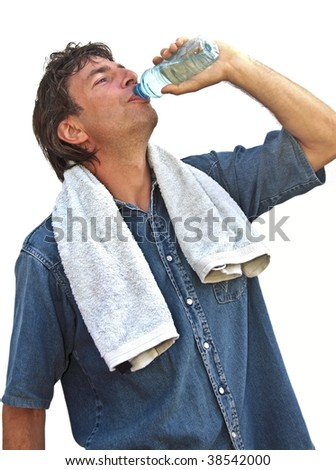 Young sportsman drinking water - stock photo