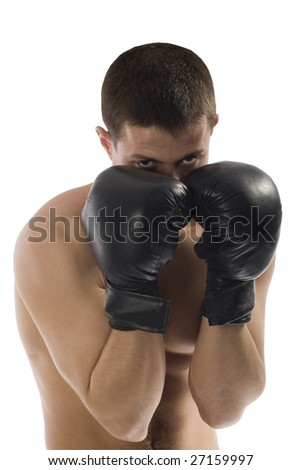 Young Sporty Boxing Man Doing Special Exercise Isolated on White Background - stock photo