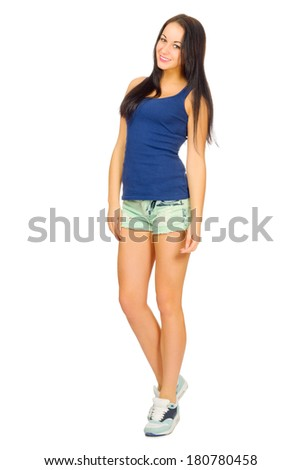 Young sporty girl in shorts isolated - stock photo