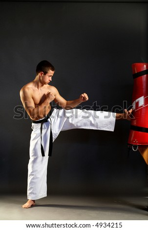 Young sporty karate man doing special exercise on gray background - stock photo