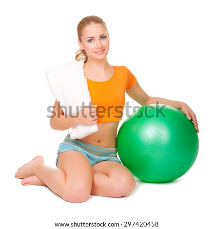 Young sporty smiling woman isolated - stock photo
