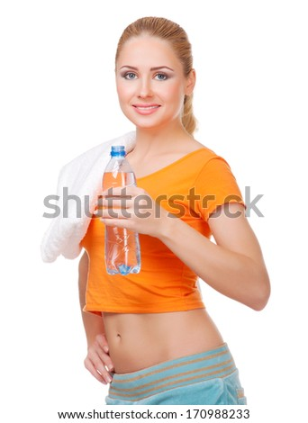 Young sporty woman with bottle isolated