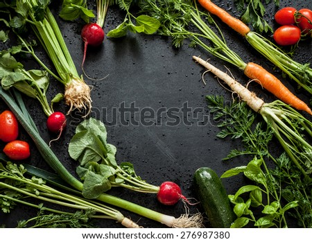 Young spring vegetables on black chalkboard from above. Background layout with free text space. Carrots, tomatoes, zucchini, leek, radish, celeriac, parsley and basil - fresh harvest from the garden. - stock photo