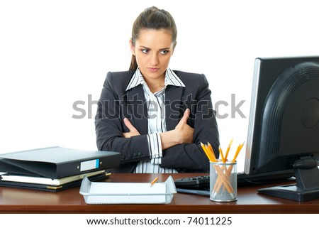 young stressed and angry businesswoman, look at her computer screen, upset face expression, isolated on white