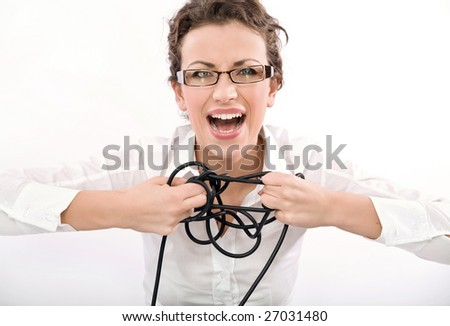 Young stressed businesswoman has a problem to solve - stock photo