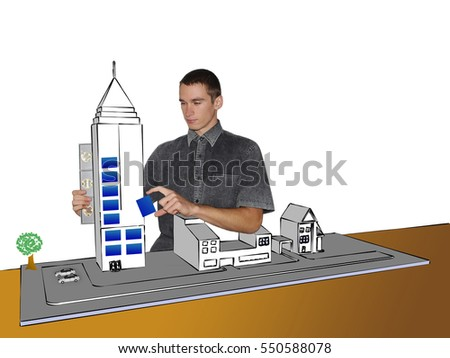 young student at construction, engineer vision with building illustration