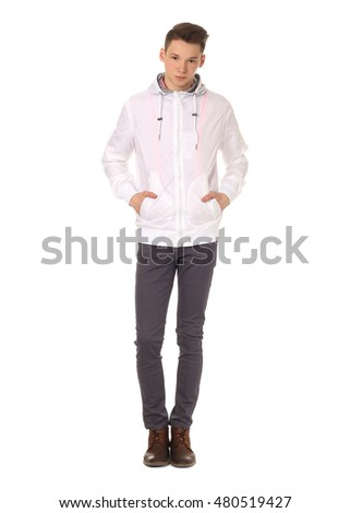 Young student boy looking at camera isolated on white