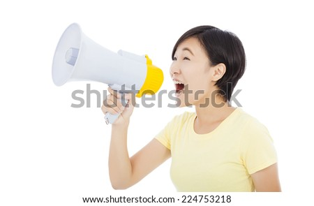 young student girl standing and holding megaphone